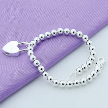 Load image into Gallery viewer, 925 Silver Plated Heart Lock Bracelet