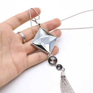 Square Large Drop Pendant Necklace