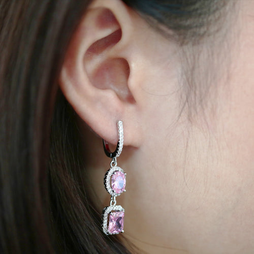 Double Crystal Pendant Earrings