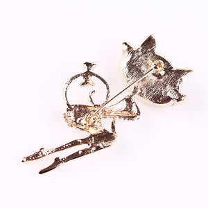 Cat Crystal Brooches