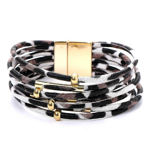 Boho Leopard Leather Bracelet