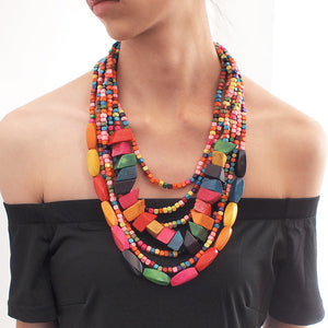 Bohemian Carribean Bead Necklace