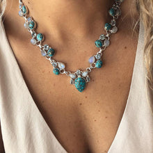 Load image into Gallery viewer, Turquoise Bohemian Flower Necklace
