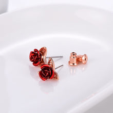 Load image into Gallery viewer, Two Tone Rose Earrings Earrings