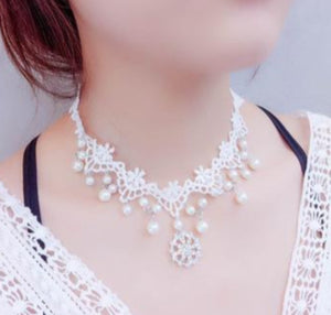 Handwoven Faux Pearl Lace Choker