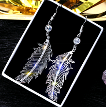 Load image into Gallery viewer, Angel Feather Drop Earrings