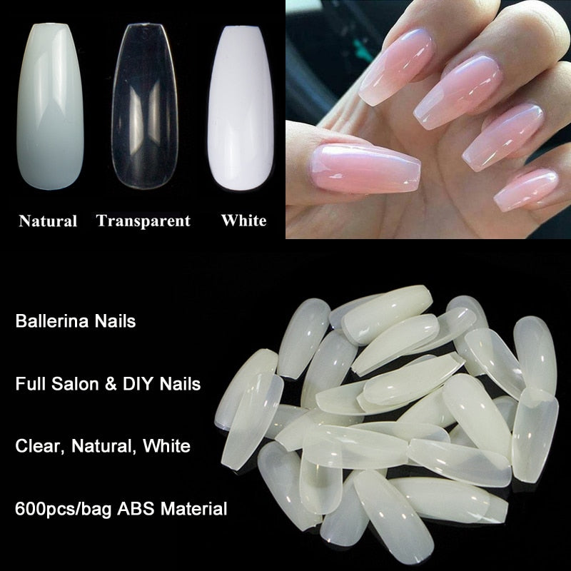 Ballerina Nail Art Tips 600pcs/Bag