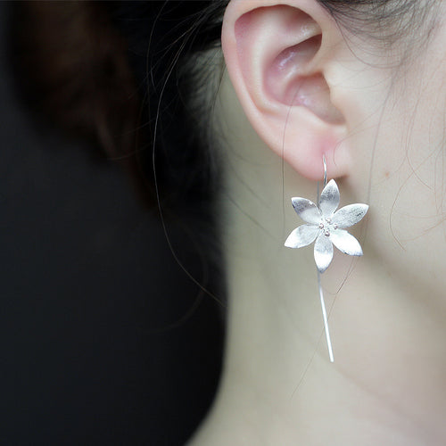 Tibetan Silver Lotus Earrings