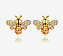 Load image into Gallery viewer, 925 Sterling Bee Earrings