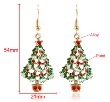 Load image into Gallery viewer, White Christmas Tree Drop Earrings