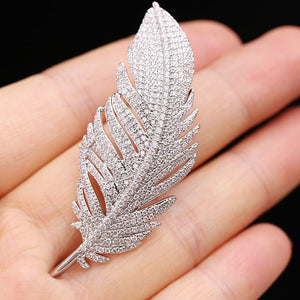 Angel Feather Crystal Brooch