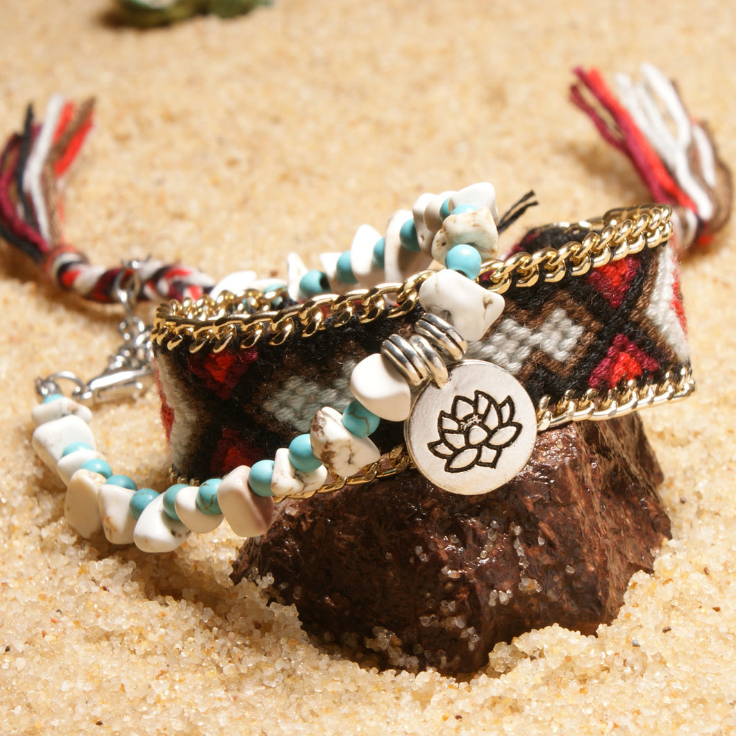 Hand Braided Lotus Anklets