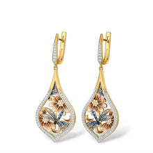 Load image into Gallery viewer, Golden Dragonfly Earrings
