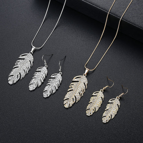 Angel Feather Necklace Earring Set