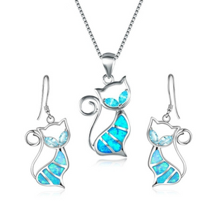 Blue Fire Cat Pendant and Earrings