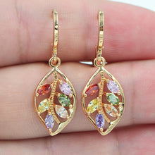 Load image into Gallery viewer, Multicolor Leaf Dangle Earrings