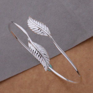 Silver Double Leaf Bangle