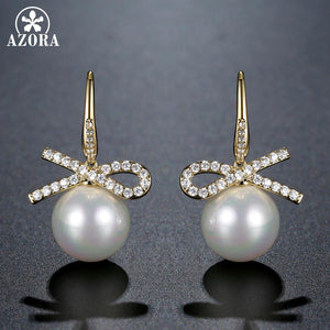 Infinity Pearl Drop Earrings