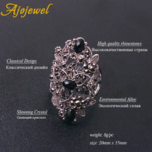 Load image into Gallery viewer, Black Crystal Hollow Flower Jewelry Sets