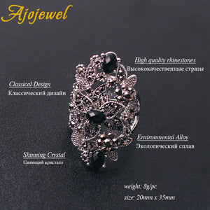 Black Crystal Hollow Flower Jewelry Sets
