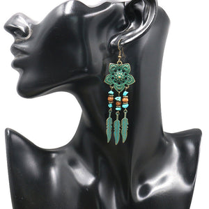 Antique Green Flower Drop Earrings