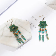 Load image into Gallery viewer, Antique Green Flower Drop Earrings