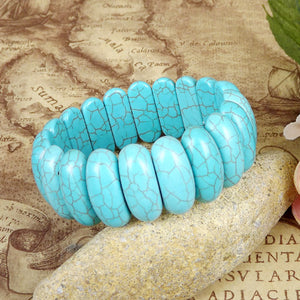 Boho Blue Natural Stone Bangle