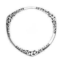 Load image into Gallery viewer, Silver Tibetan Hand Carved Flower Bangle