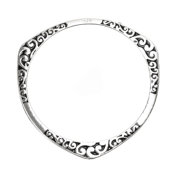 Silver Tibetan Hand Carved Flower Bangle