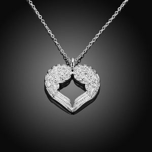 Silver Plated Heart Of Angel Necklace