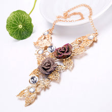 Load image into Gallery viewer, Purple Crystal Floral Leave Jewelry Sets