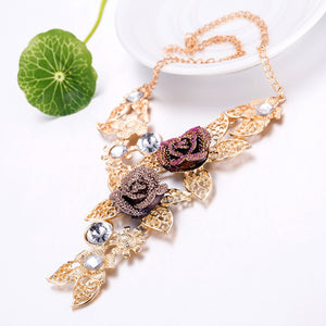 Purple Crystal Floral Leave Jewelry Sets
