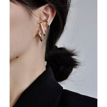 Load image into Gallery viewer, Curved Bar Crystal Earrings