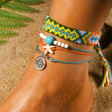 Load image into Gallery viewer, Handmade Weave Starfish 4 Pieces Anklets