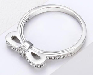Bowknot Silver Crystal Ring