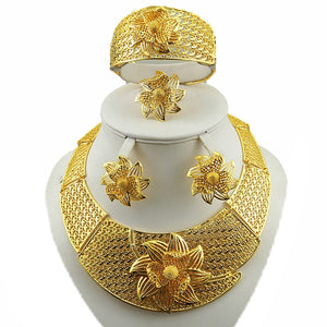 Golden Flower Jewelry Sets