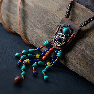 Leather and Natural Stone Necklace
