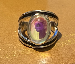 Silver Tibetan Happiness Moonstone Ring