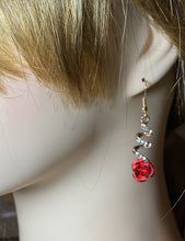 Load image into Gallery viewer, Romantic Red Rose Drop Earrings