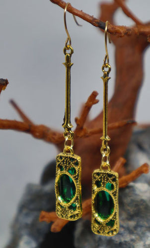 Locked Emerald Drop Earrings