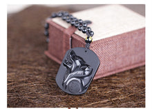 Load image into Gallery viewer, Black Wolf Obsidian Necklace