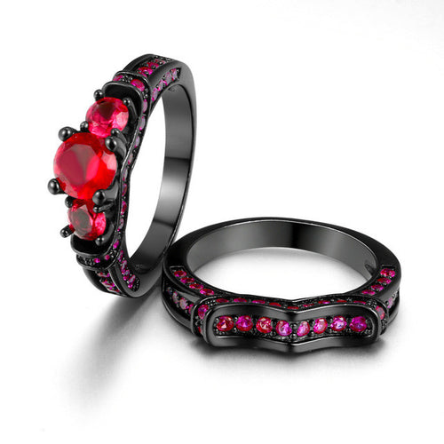 Steampunk Black Gold Color Blood Red Stone Pair of Rings