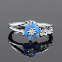 Load image into Gallery viewer, Flower Fire Opal Rings