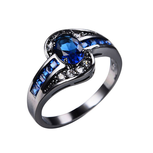 Ice Blue Black Gold Color Ring