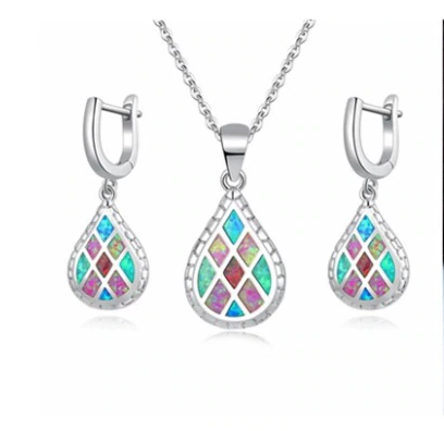Rainbow Fire Opal Jewelry Set