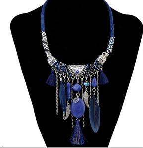 Tribal Bohemian Feather Statement Necklace