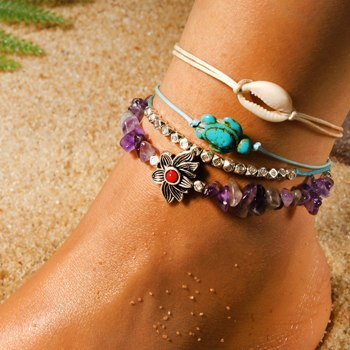 Irregular Natural Stone Shell Anklet