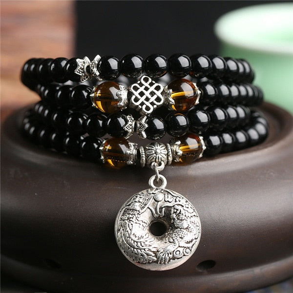 Obsidian Prayer Beads Mala Bracelet