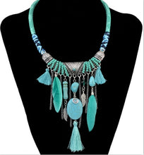 Load image into Gallery viewer, Tribal Bohemian Feather Statement Necklace