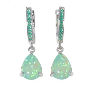 Green Opal 925 Silver Earrings